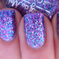 Nail polish - &quot;Warrior Princess&quot; pink, blue and purple glitter in a sheer purple base