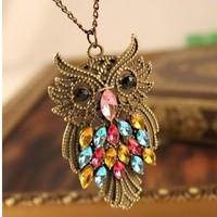 Vintage Multicolor Rhinestone Owl Long Chain Pendent Necklace at online vintage jewelry store Gofavor