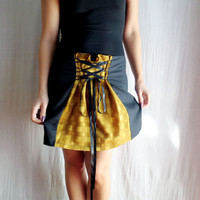 Mustard black mini skirt - corset skirt linen skirt black skirt womens skirt