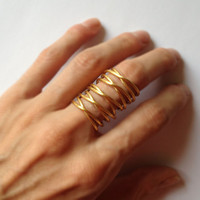 24K gold plated bronze armor ring - statement ring