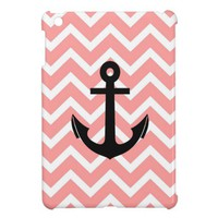 Chevron Salmon Anchor Chevron Pattern iPad Mini Case from Zazzle.com