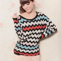 Fashion Waves Stripe Bat-wing Round Neck Sweaters : Wholesaleclothing4u.com