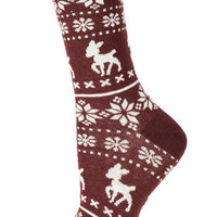 Wine Baby Deer Fairisle Socks