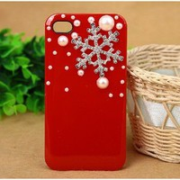Amazon.com: 3D Crystal Christmas Snow Snowflake Hard Back Case Cover Pearls for iPhone 4/4s: Cell Phones & Accessories