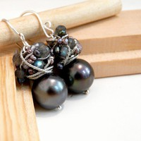 The Caprice - charming earrings with big shell pearls, faceted pyrite stone/ FREE shipping