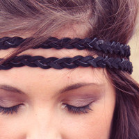 The Boho Band, Double Strand Bohemian Braid Headband, Indie, elastic closure, Braided Headband, Bohemian Style