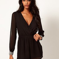 ASOS Playsuit With Embellished Cuff at asos.com