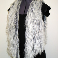 White/Gray/Black Mongolian Faux Fur Vest