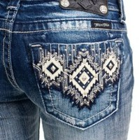 Amazon.com: Miss Me Aztec bootcut jeans (27): Clothing
