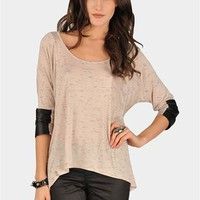 Luke Leather Trim Jersey - Beige at Necessary Clothing
