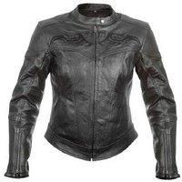 Xelement XS-20875 Armored Womens Leather Motorcycle Jacket with Tribal Embroidery Sz 2XL