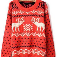 X&#x27;mas Deer Round Neck Sweater Red S006059