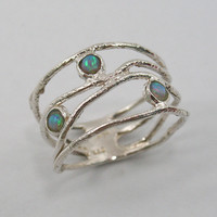 Christmas Sale-unique blue OPAL and sterling silver- OCEAN wave ring (sr-9773) everyday wear, birthday gift, Christmas gift ideas