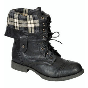 Plaid Combat Boots Fold Over Black Military Fashion Trend Womens Ankle ...