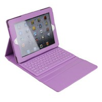 Wireless Keyboard Leather Case with Stand for iPad 2/The New iPad - Purple