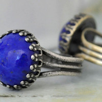 BLUE LAPIS RING vintage glass cab ring in antique brass or silver plated adjustable