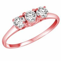 Amazon.com: 14K White Gold 3 Three Stone Round Brilliant Diamond Ring (1/2 cttw): DivaDiamonds: Jewelry