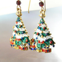 Christmas Tree Earrings 14K Gold Fill Presents Christmas Earrings Christmas Gift Idea Holiday Jewelry