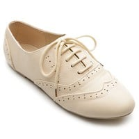 Ollio Women&#x27;s Classic Dress Oxfords Low Flats Heels Lace Up Beige Shoes