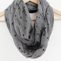 grey scarf, infinity scarf, polka dot cotton scarf, neckwarmer