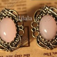 Vintage Lace Inlaid Gemstone Stud Fashion Earrings - two pairs