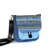 Denim Cross Body Bag with Polka Dots, gift under 50