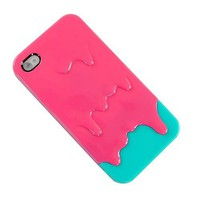 New 3d Melt Ice-cream Back Hard Case Cover for Apple Iphone 4 4s Peach Green