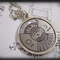 UNTIL 2056 steel working perpetual calendar necklace in silver