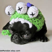 DOG COSTUME HALLOWEEN costumes monster crocheted hood hat for cat dog x-small small medium puppy hoodie adjustable crochet