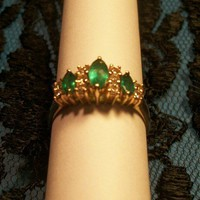 Marquise Cut Emerald Diamond 14kyg Dinner Ring Vintage Fine Jewelry $2500 Value