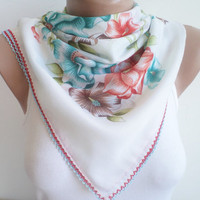scarf, stylish accessory, White thin scarf, women fashion