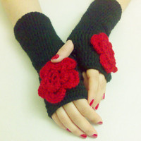 Cyber monday, gloves, Black and Red Gloves, hand crochet gloves, new fashion, women accessory, holiday gifts, Black fingerless gloves.