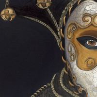 Gold Carnival Mask Original Painting