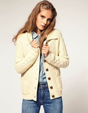 ASOS | ASOS - Cardigan in stile aran con colletto da ASOS