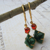 Holiday Earrings, Retro, Estate Earrings, Emerald Jade and Ruby Glass Earrings, Vintage Green and Red Lever Back Earrings, Dangle Earrings