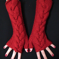 Fingerless Gloves Red Wrist Warmers Cabled Soft Long by LaimaShop