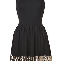 Sandro - Black/Gold Sequined Dress