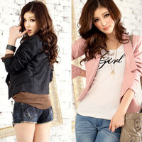 Summer New Fashion Korean Women Lady Tops Slim Suit Blazer Short Coat Jacket