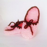 Pink and Black Crochet Slippers House Shoes Women Christmas Gift