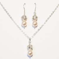 Swarovski Bridesmaid Set, Necklace and Earrings in Sterling Silver - by craftimade on madeit