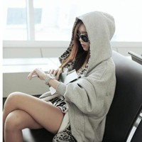 Lovely Korean Style Loose Leopard Fleeces Hoodie: tidestore.com
