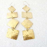 Hammered brass earrings, long dangle modern metal jewelry, gift under 40