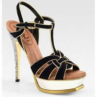Yves Saint Laurent Suede and Metallic Leather T-Strap Sandals