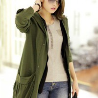 Double Pocket Hooded Long Sleeve Coat Green$128.00