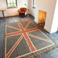 Union Jack Rug - Rose &amp; Grey, Vintage Leather Sofas and Stylish Accessories