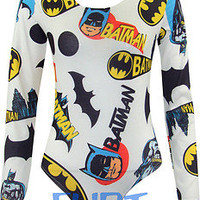 Womens Bodysuit Ladies Batman Hero Logo Leotard Long Sleeve Top Stretch New 8-14