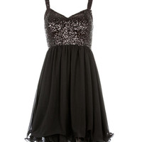 Black Sequin Top Chiffon Dress - Clothing - desireclothing.co.uk