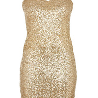 Gold Sequin Strapless Sweetheart Dress - Clothing - desireclothing.co.uk