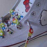 Hand Painted Hello Kitty On White Converse Shoes COP05