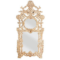 Antiqued White Fleur Mirror - shabby chic mirror, ornate carved white mirror